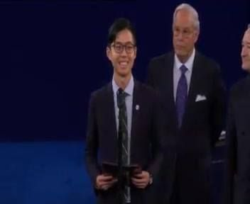 """America was founded on a great promise: A government of the people, by the people, for the people. This great democratic experiment has since spread like wildfire to much of the world ... including to Singapore, my home.""   Singaporean student Kenneth Sng delivers the opening remarks before the start of the second US presidential debate at the Washington University in St. Louis. http://bit.ly/2ddH4LW"