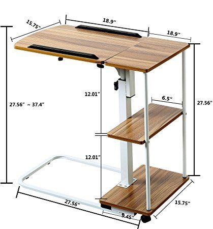Amazon.com: doeworks mesa auxiliar para cama con ruedas, altura ...