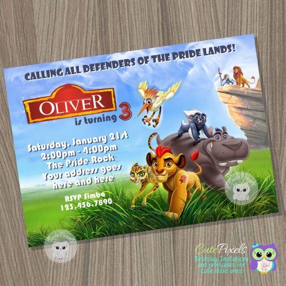 The lion Guard Birthday invitation, The Lion King Birthday, Lion Guard Party, Lion Invitation,…