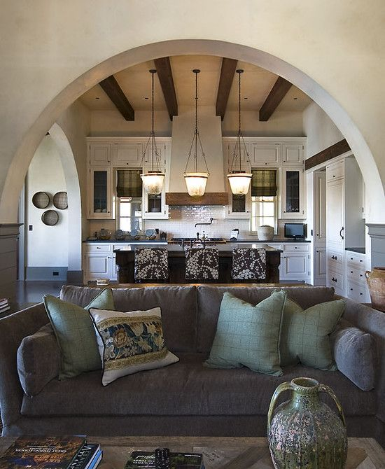 Marvelous Beautiful Country Home Design With The Best Décor: Cozy Living Room Grey  Sofa Old World · Mediterranean Living RoomsMediterranean KitchenRustic ... Amazing Design