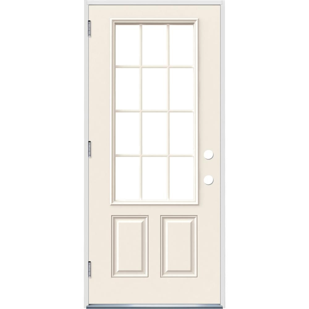Jeld Wen 32 In X 80 In 12 Lite Primed Steel Prehung Right Hand Outswing Front Door Thdjw190900029 The Home Depot Farmhouse Interior Doors Front Door Prehung Exterior Door