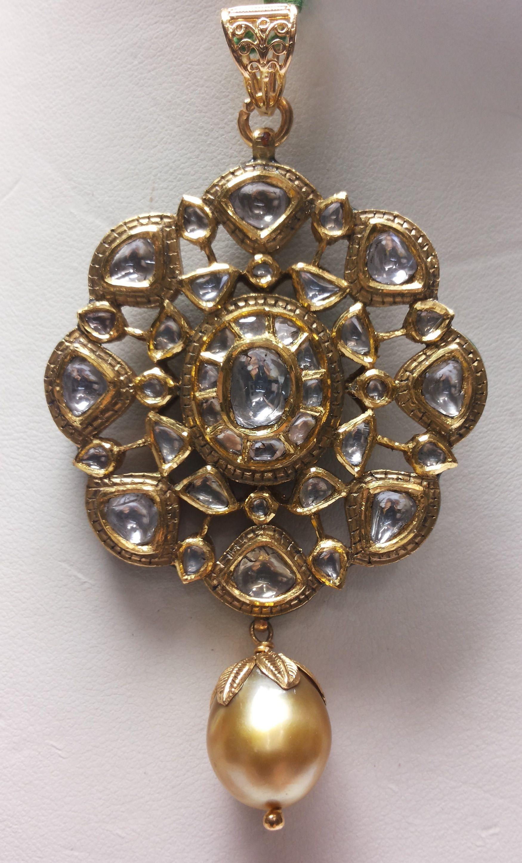 Kundan polki pendant in 22 kt gold my precious designed by me kundan polki pendant in 22 kt gold aloadofball Choice Image