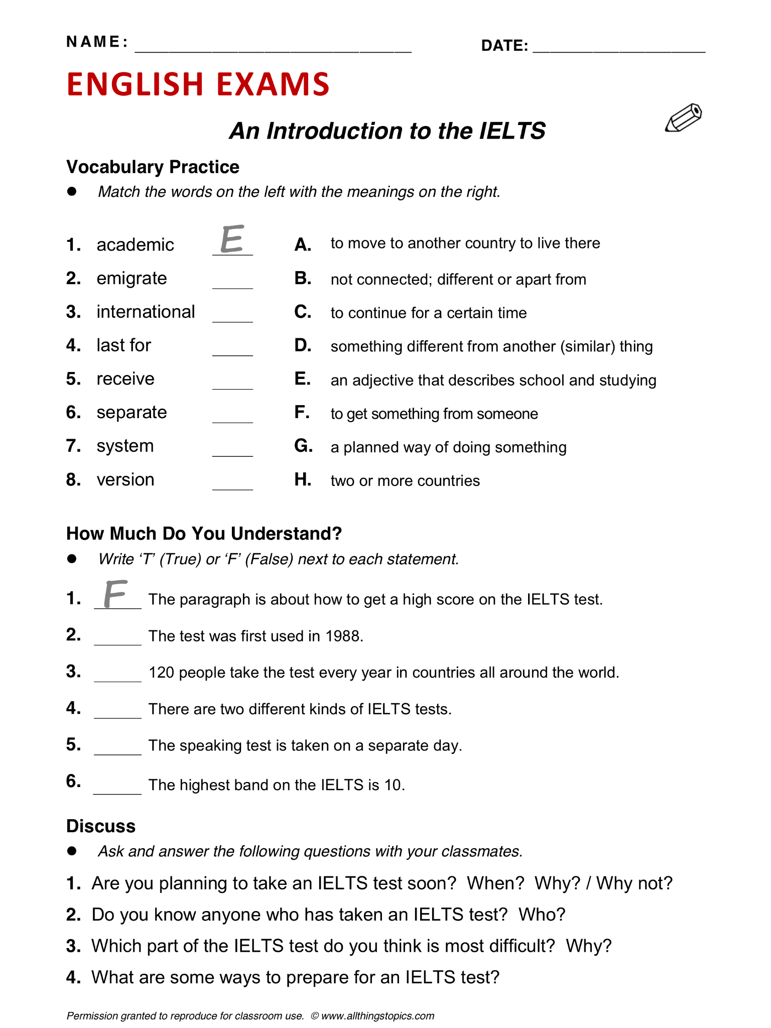 English Grammar Worksheet For Adult Learners