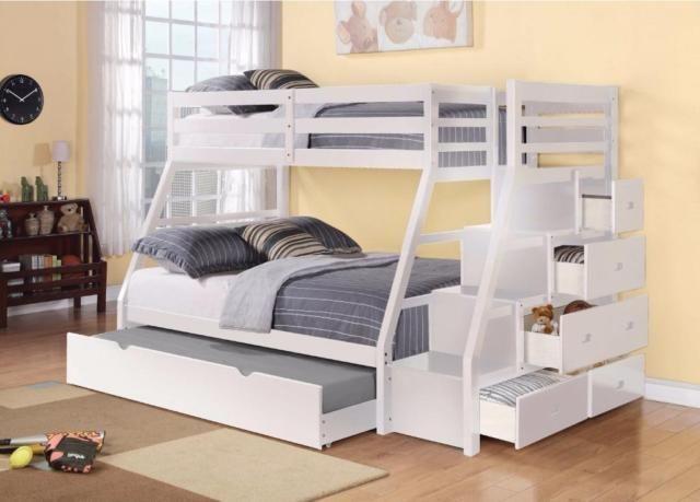 Lits superpos s simple sur double avec escalier - Lit superpose avec lit gigogne ...