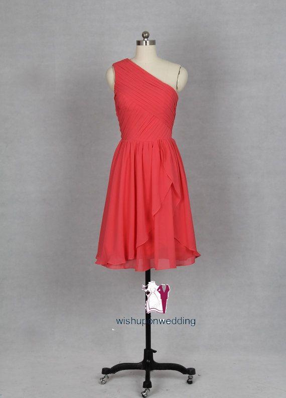 Coral Bridesmaid Dress, One Shoulder Short Coral Chiffon Bridesmaid Dresss, prom dress bridesmaid/cocktail dress,homecoming dress