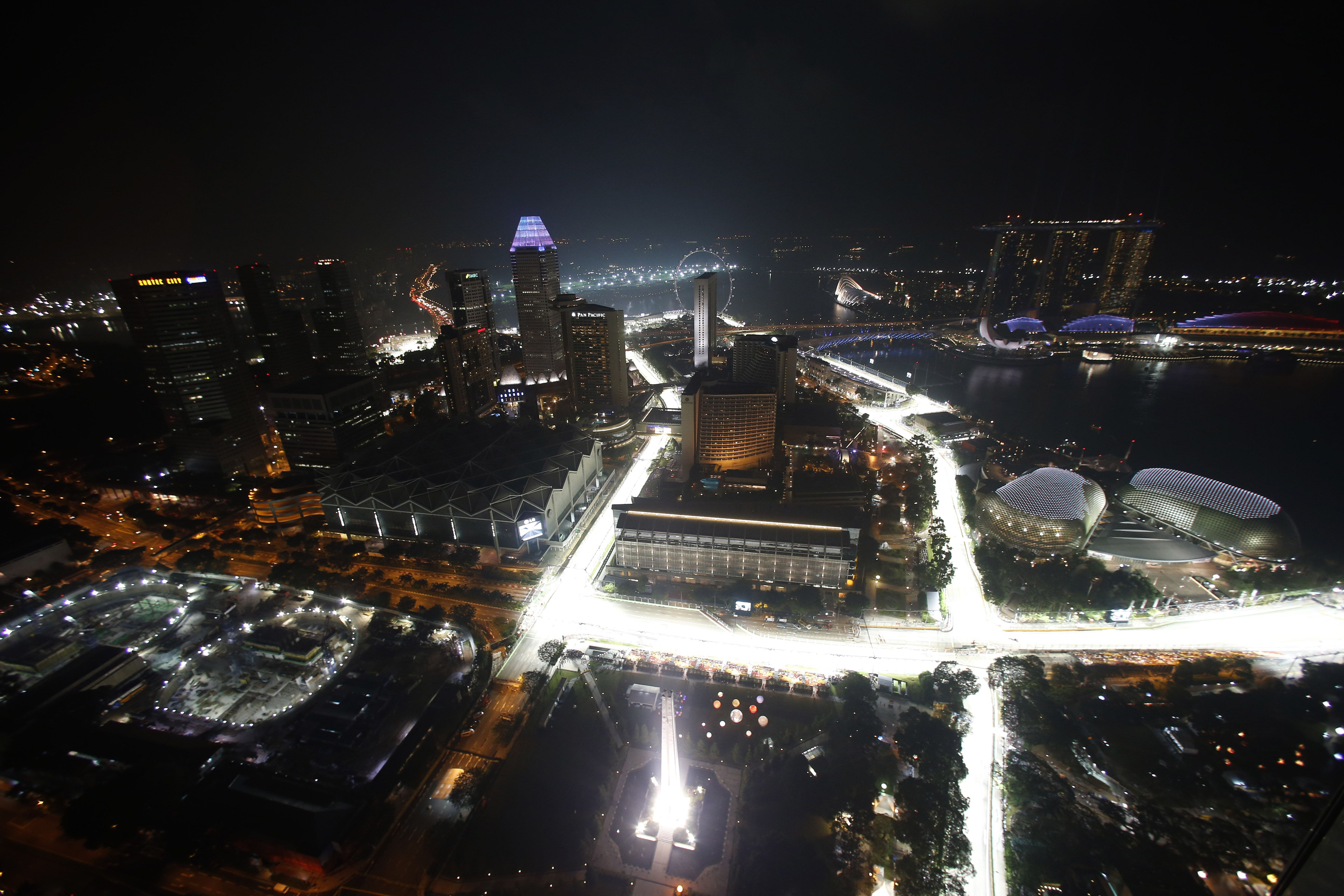 An illuminated bird eye view of the track B