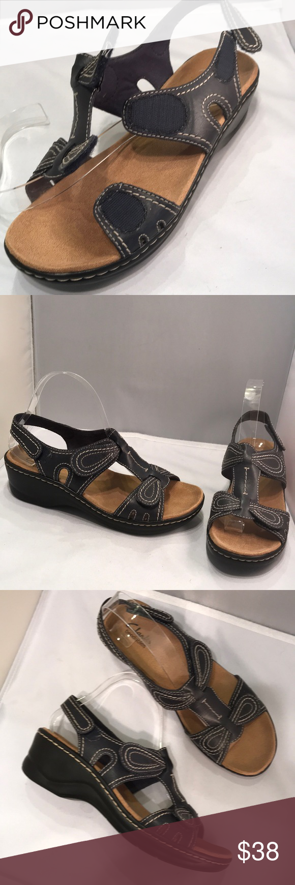 c465f4082 Clarks 8 bendables Velcro adjustable NEW Really cute Completely adjustable  Leather with lightweight rubber wedge like