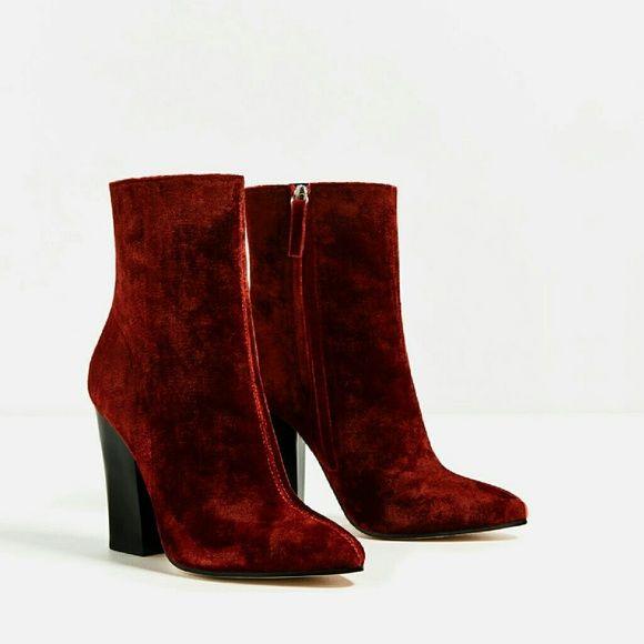 9ebabec82dc00 Zara Shoes - ZARA RED VELVET ANKLE BOOTS