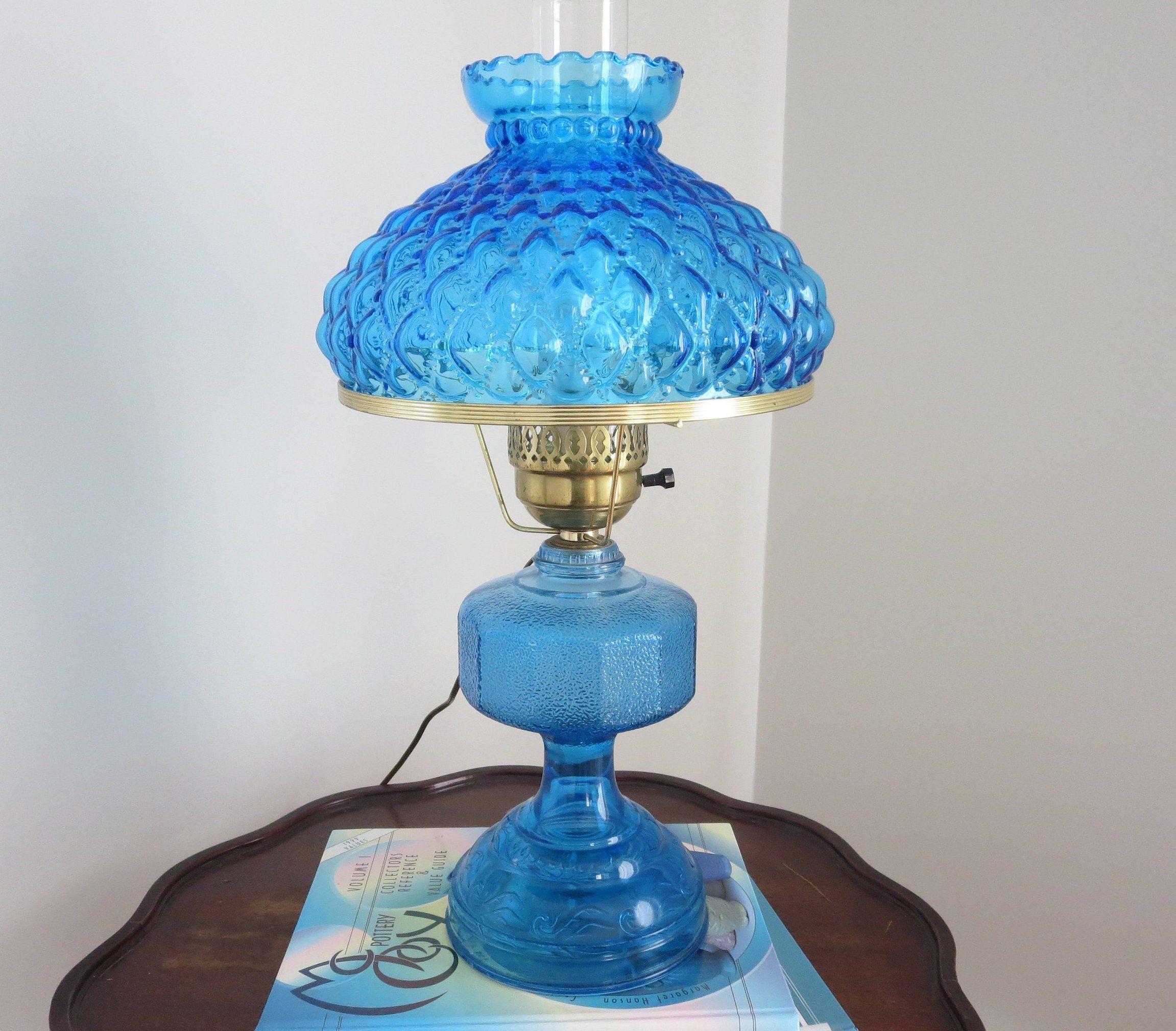 Vintage Electrified Hurricane Oil Lamp, Blue Hurricane Lamp Shade