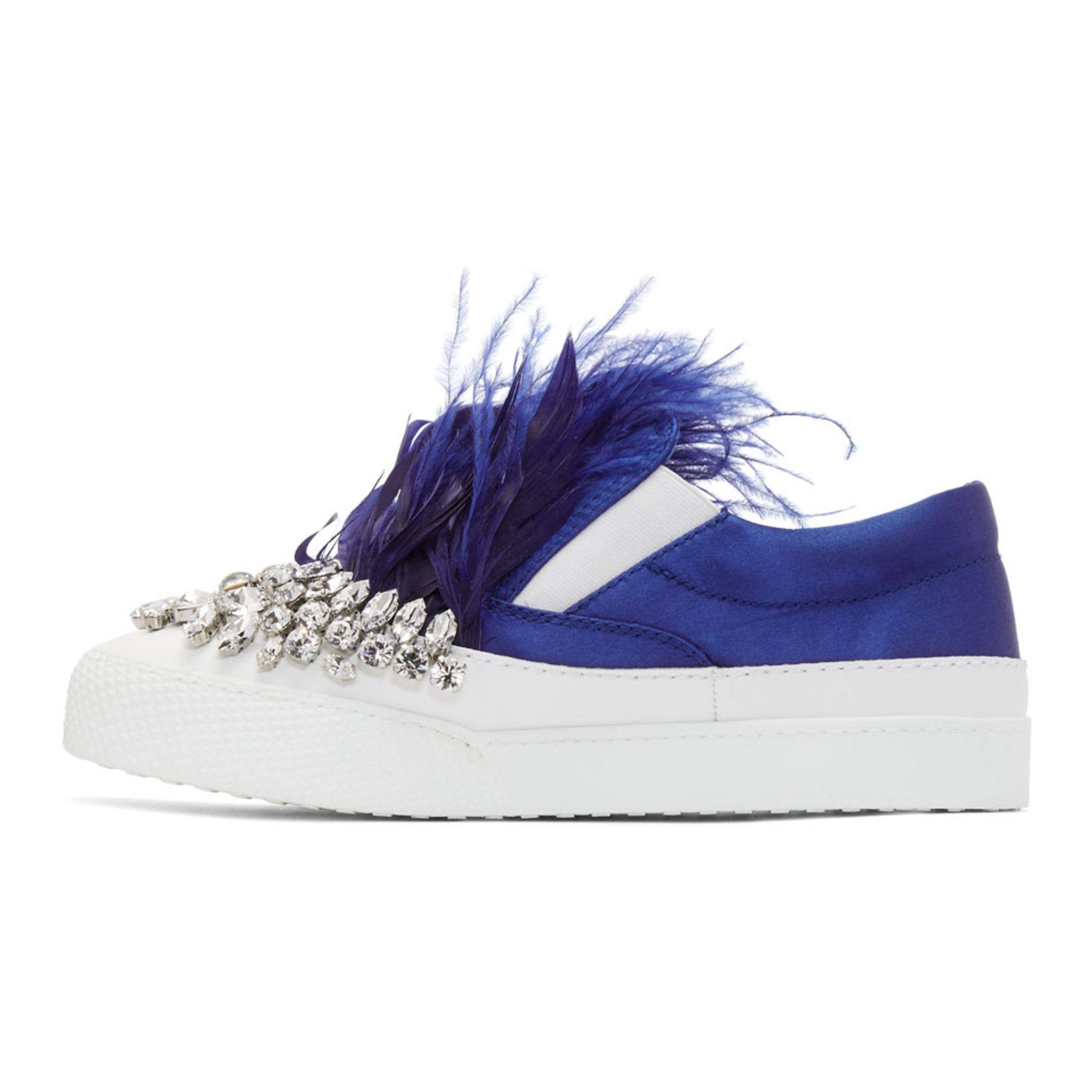 Miu Miu White & Blue Feather Crystal Slip-On Sneakers