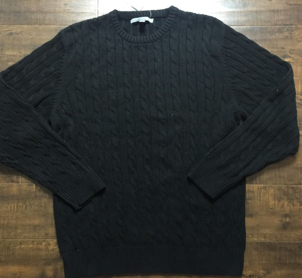 Old Navy Black Cable Knit Sweater Large Pullover New B15 | eBay ...