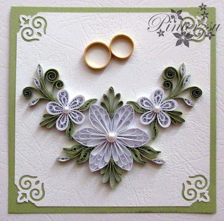 Квиллинг свадьба открытки
