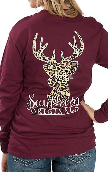 0d95ba46 Girlie Girl Originals Women's Maroon Leopard Print Deer Long Sleeve T-Shirt  | Cavender's