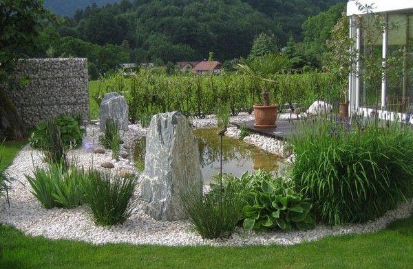 gebirge-teich-garten-kies-pflanzen-stein Garten Pinterest