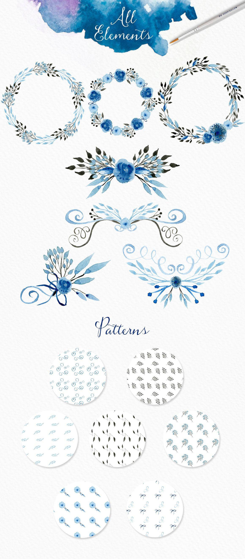 21 Pastel Blue Bedroom Designs Decorating Ideas: Light Blue Watercolour Elements By Webvilla On Creative