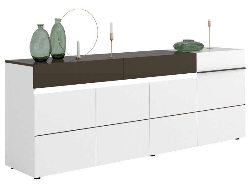 Buffet 4 portes 2 tiroirs KARAT coloris blanc/ gris pas cher