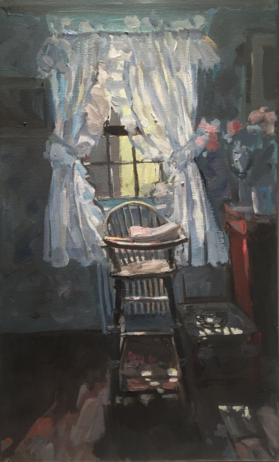 Hector McDonnell RUA, High Chair at Risi's House, New York, oil on canvas, 50 x 30cm