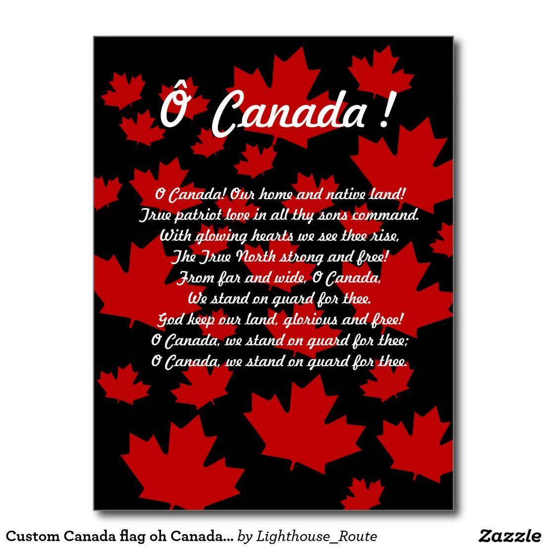 Custom canada flag oh canada anthem postcard souvenir