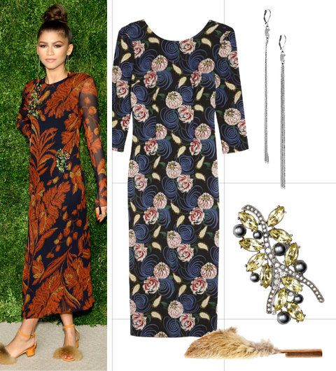 Take a cue from Zendaya and wear furry footwear with a floral dress.