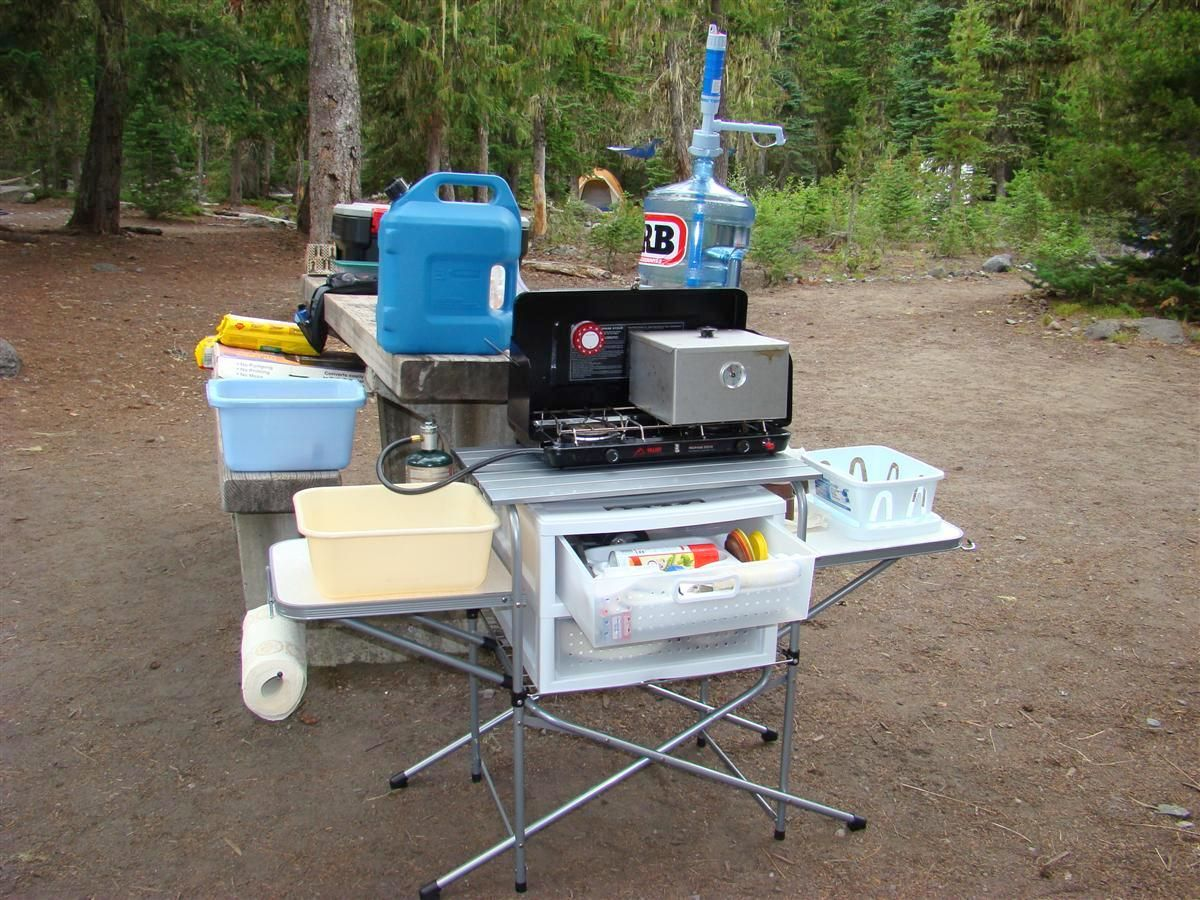 Camping equipment plenty of room to carry gear food for Outdoor camping kitchen ideas