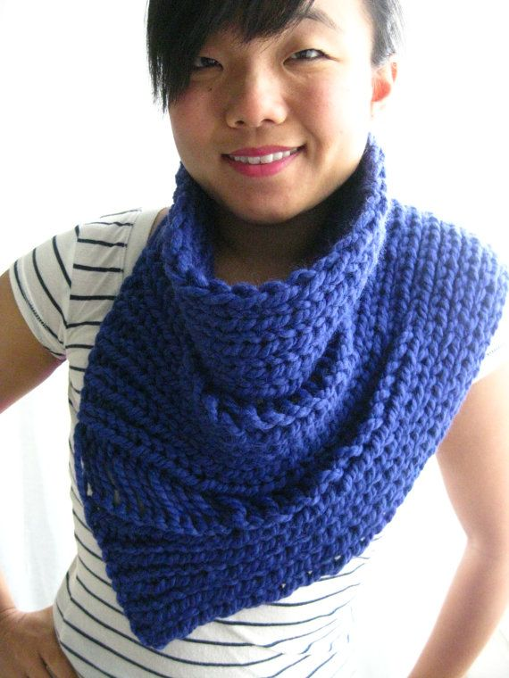 Photo of PATTERN for Draped Bandana Cowl – Hand Knit Scarf for Spring with Dropped Stitches