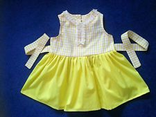 Girls Handmade New Bespoke Cotton Summer Dress Yellow Knee Length age 3-4 Years
