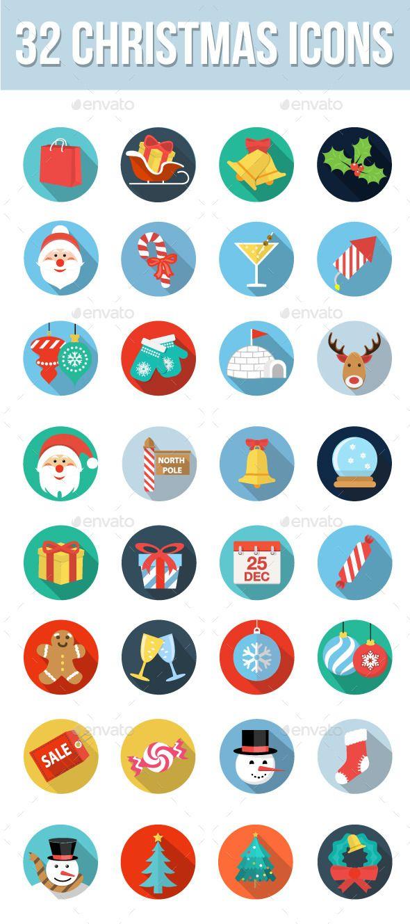 32 Christmas Icons Christmas icons, Christmas design