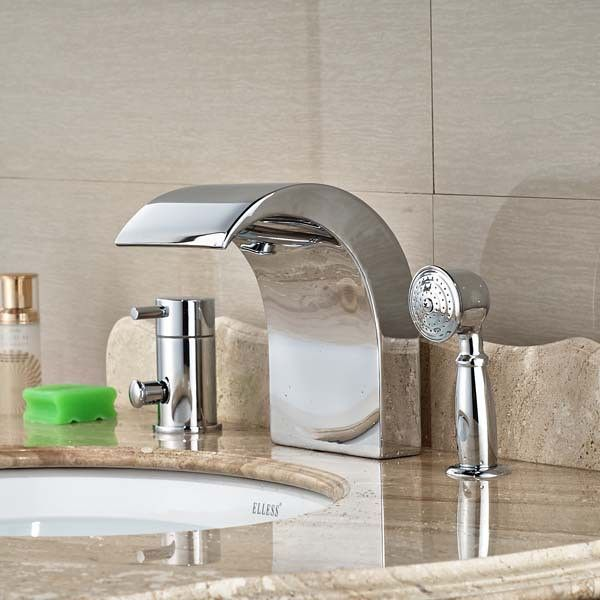 Deck Mounted Chrome Brass Waterfall Spout Bathroom Tub Faucet With