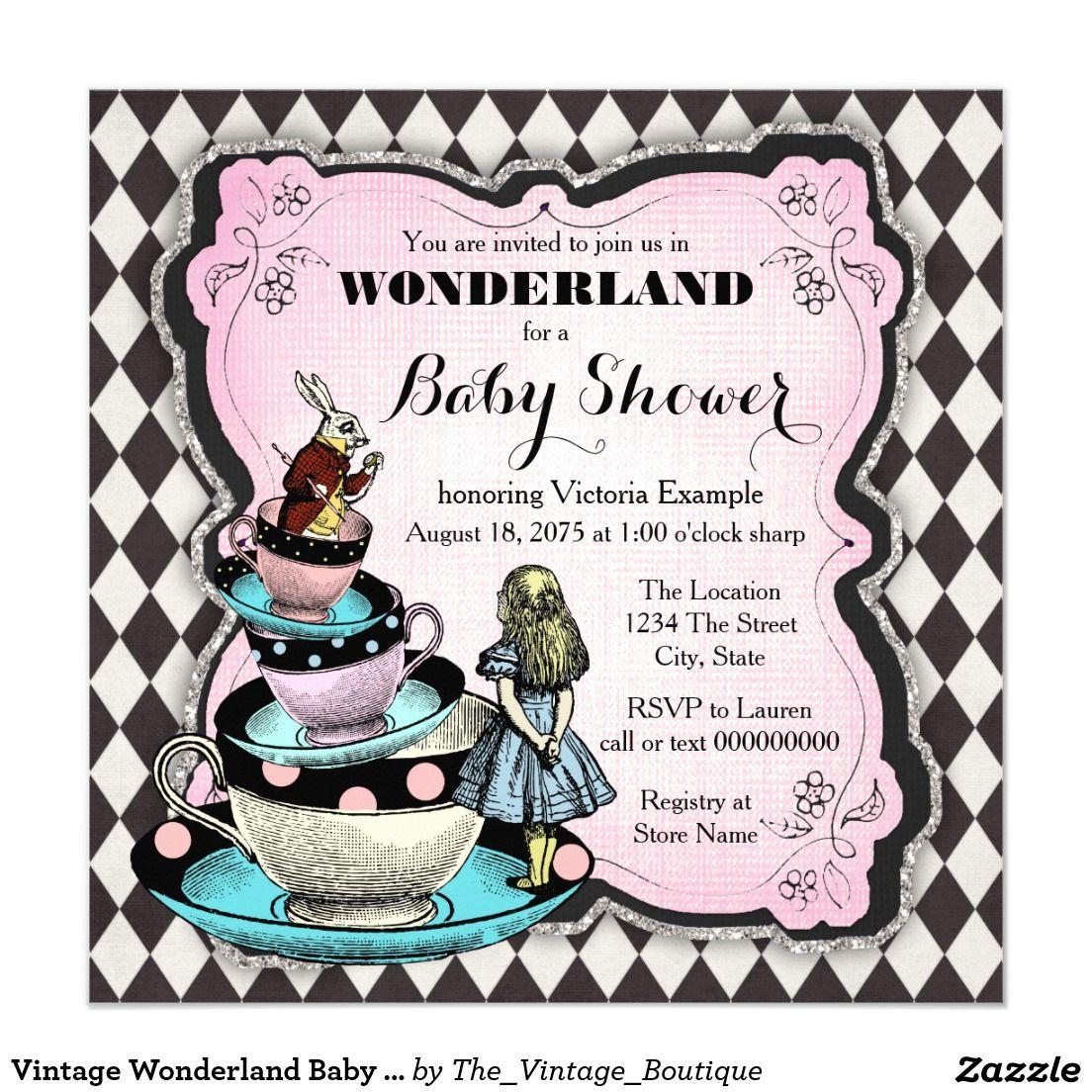 vintage wonderland baby shower card | shower invitations and baby, Baby shower invitations