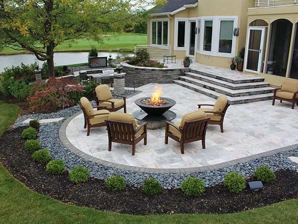 Stairs Firepit Paver Patio With Travertine Back Yards Patio