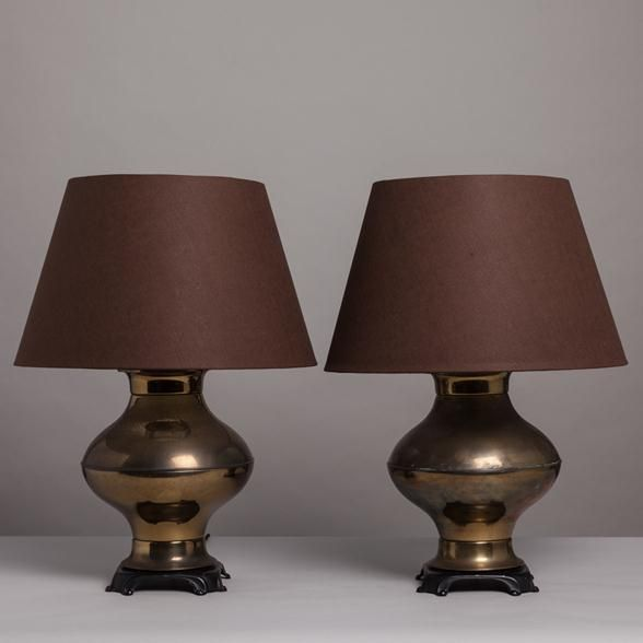 Asian Table Lamps Talisman A Pair Of Asian Modern Bronze Table Lamps 1960S   Table