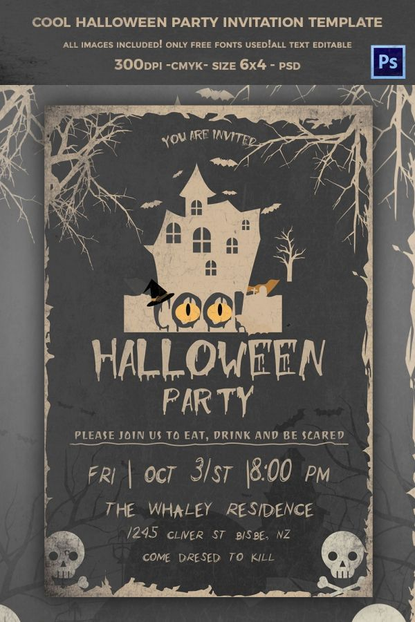 Cool Halloween Party Invitation Template   Design Templates ...