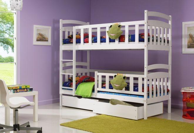 łóżko łóżka Piętrowe Kacper 2b Biały Dla Dzieci Lozka