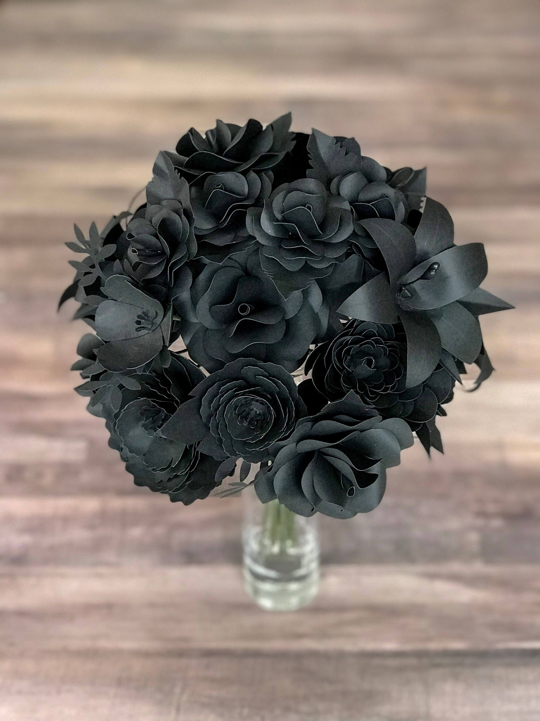 Black flowers paper flower bouquet gothic bouquet black wedding black flowers paper flower bouquet gothic bouquet black wedding goth wedding black bouquet black paper flowers goth bouquet macabre paper blossoms izmirmasajfo