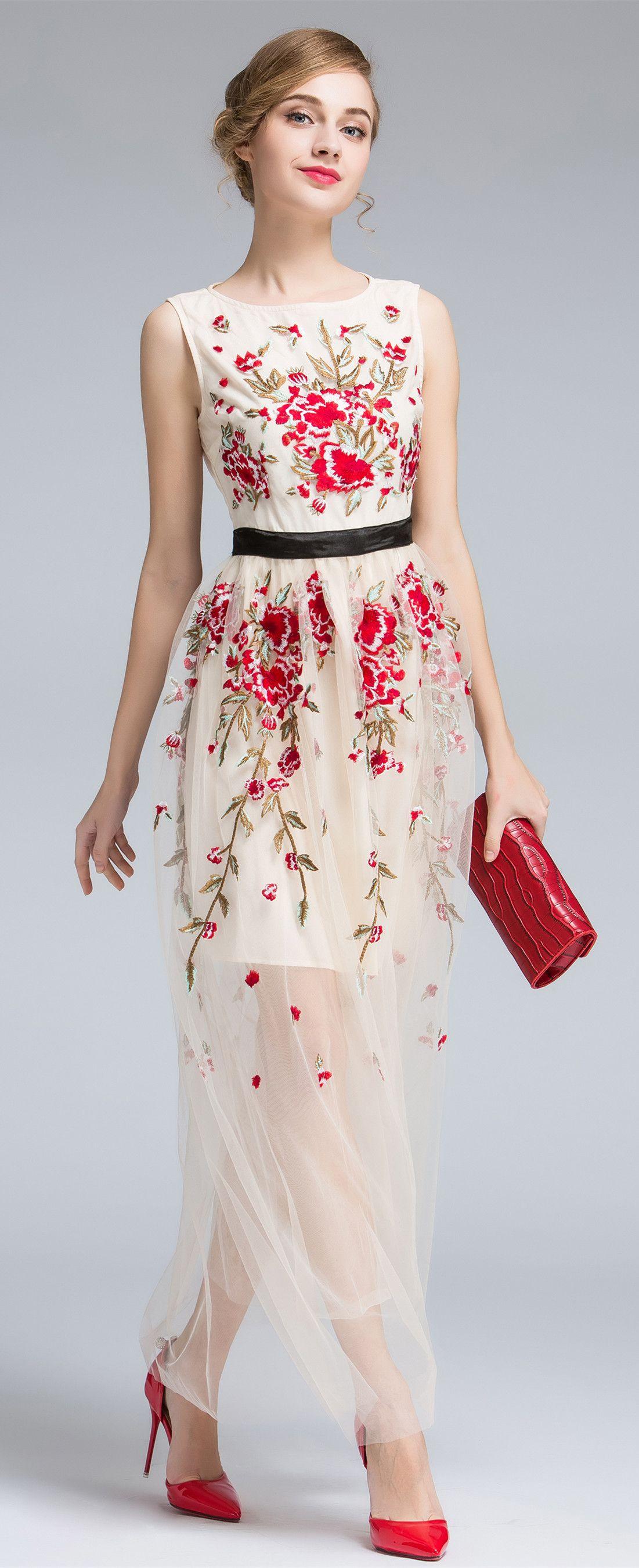 Wedding dress shops in deira dubai  Ivory Round Neck Embroidered Maxi Dress  HOT   Pinterest  Maxi