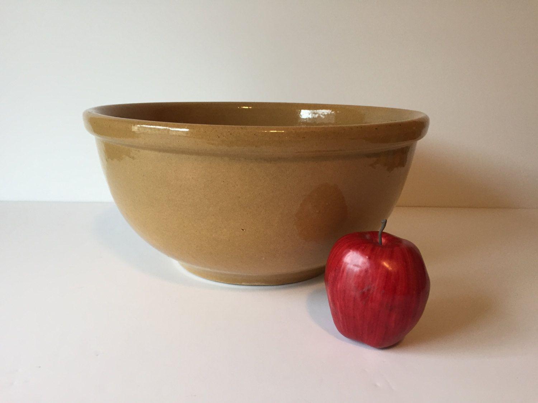 Vintage XL Tan Bowl, Antique Dough Bowl, Bread Making Bowl, Salad Serving Bowl, Mixing Bowl by GirlGoesVintage on Etsy