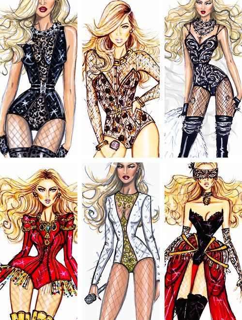 The best of Beyonce's stage outfits by Hayden Williams- http://fashionilluminati.com/hayden-williams-celebrity-fashion-illustrations/: