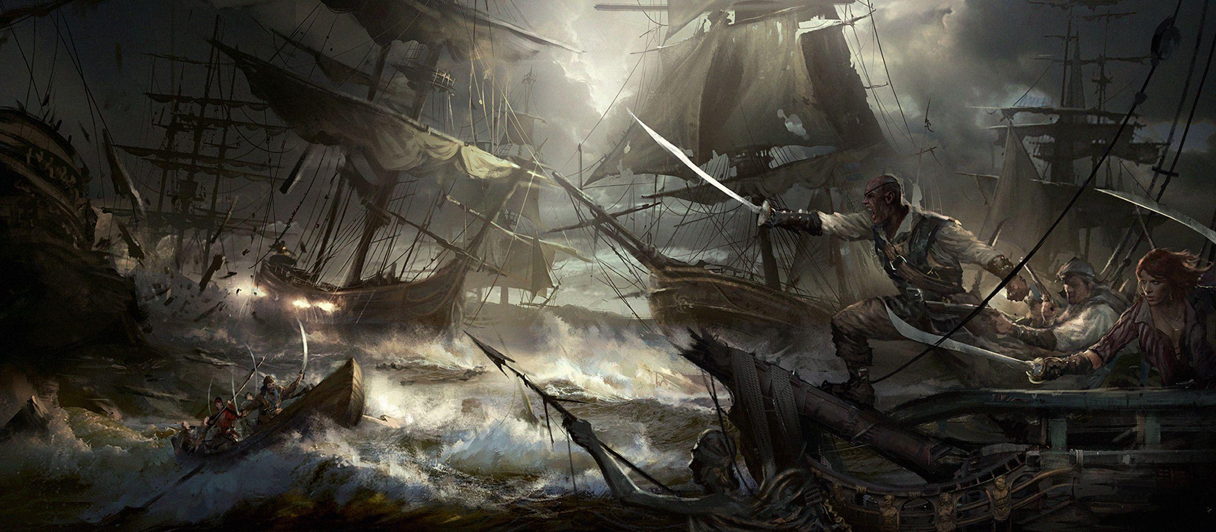 Fantasy Pirate Battle Sword Ship Fantasy Wallpaper | Pirates