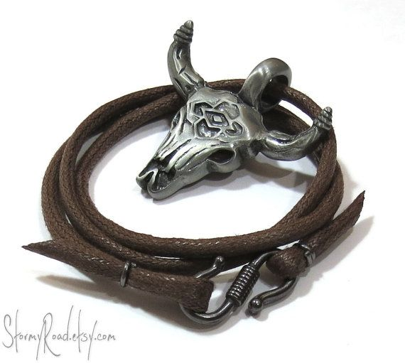 Southwestern Necklace, Bull Skull Necklace - Mens Skull Jewelry - Cowboy Necklace, Brown Cord - Gunmetal Pewter Pendant - Fathers Day via Etsy