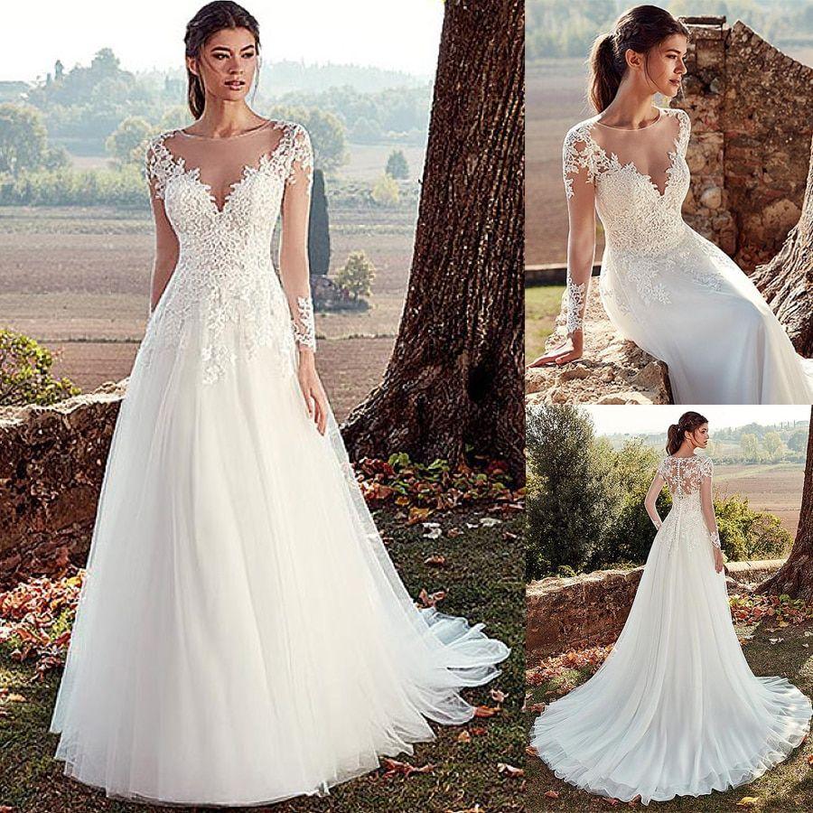 Jewel Neckline Aline Wedding Dresses With Illusion Back