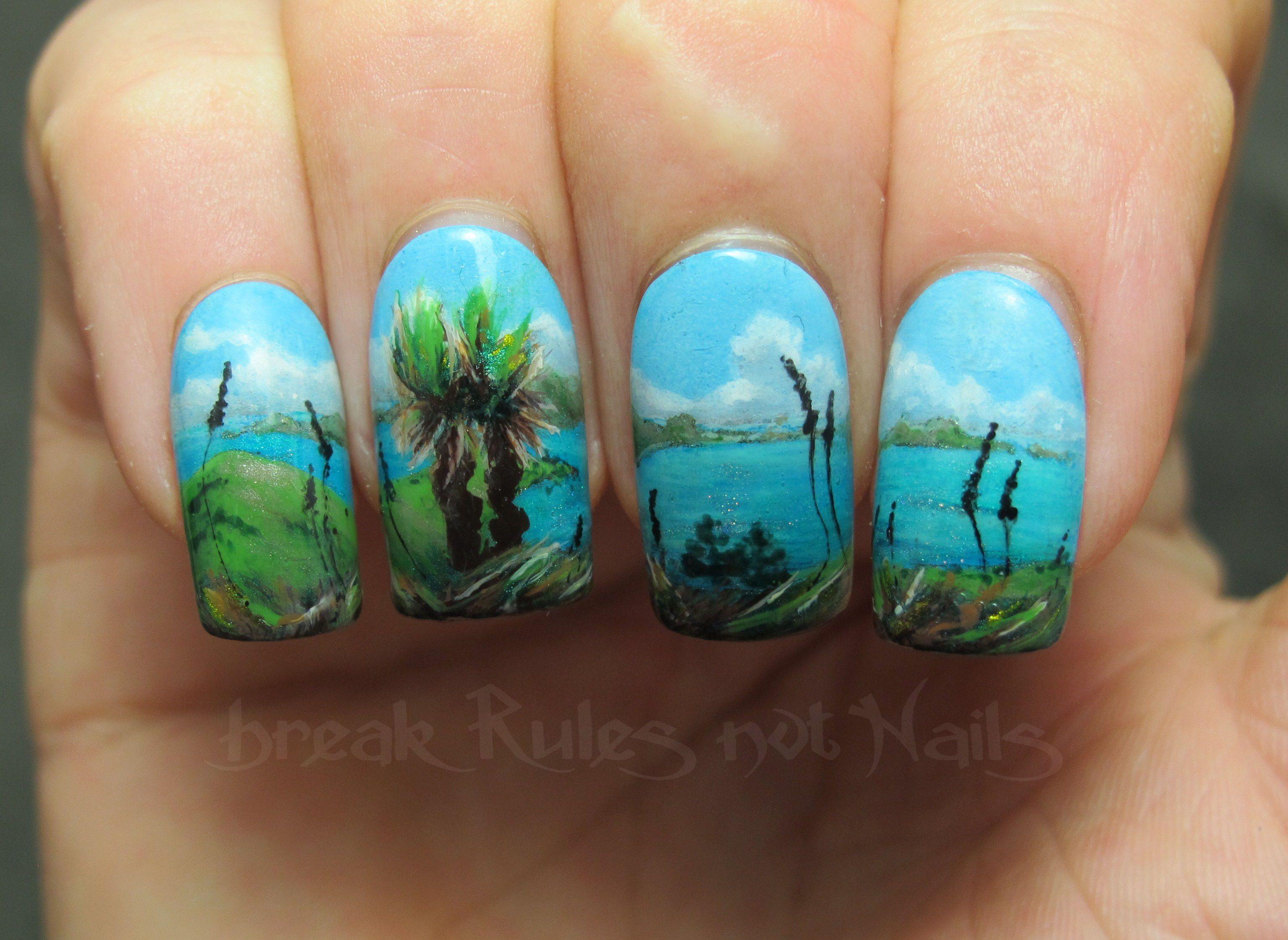 landscape nail art - Google keresés   Amazing nail art ...