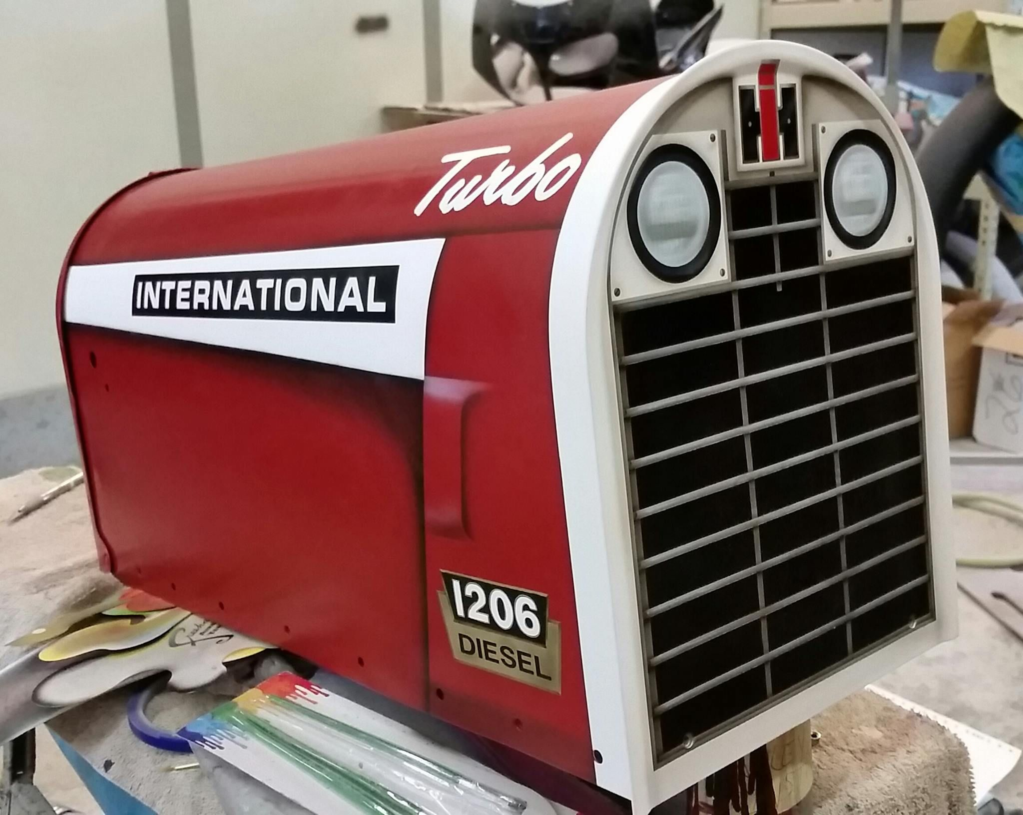 Farmall mail box all paint and airbrush no decals for International harvester wall decor