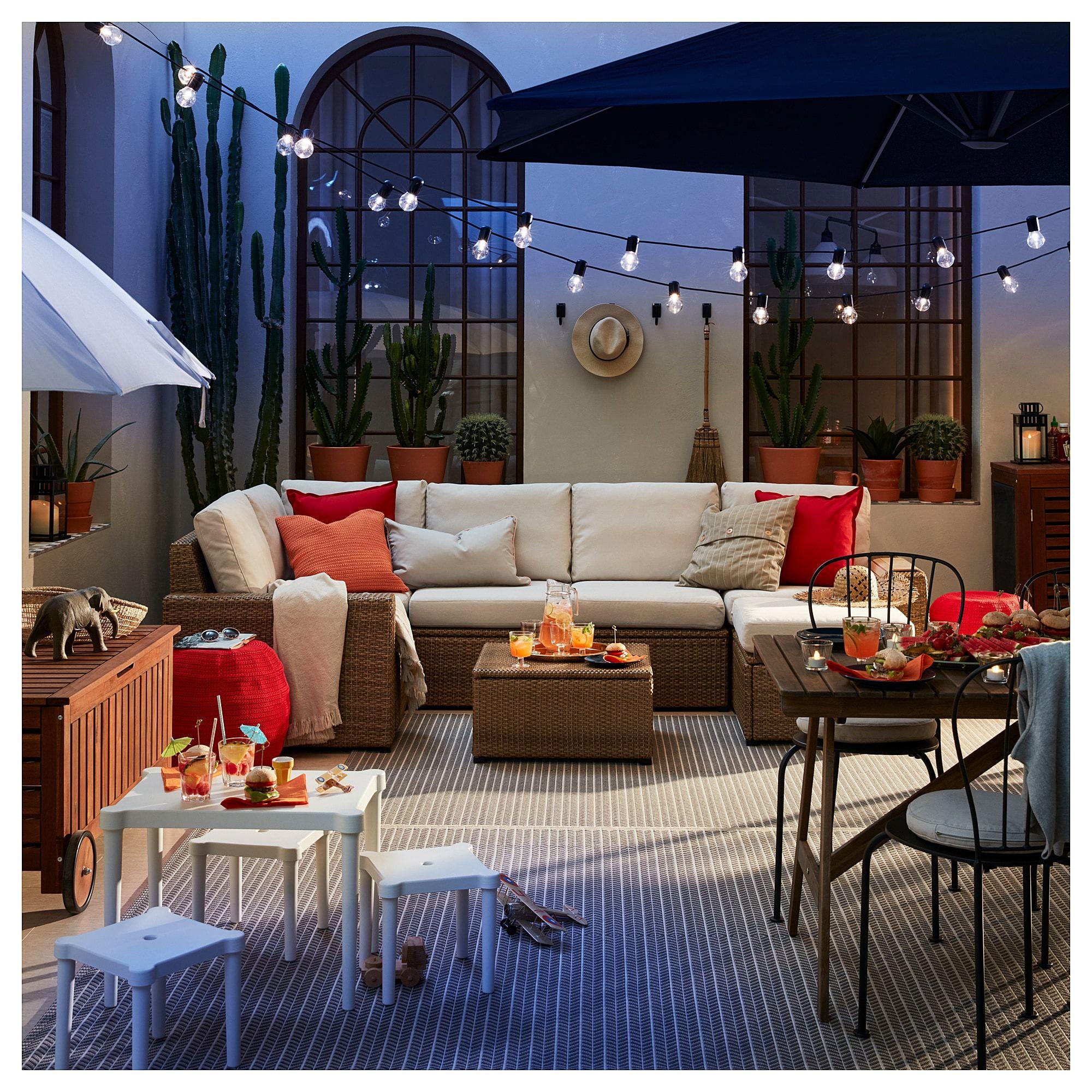 Solleron Modular Corner Sofa 4 Seat Outdoor With Footstool Brown Brown Froson Duvholmen Beige In 2020 Modular Corner Sofa Outdoor Patio Designs Corner Sofa