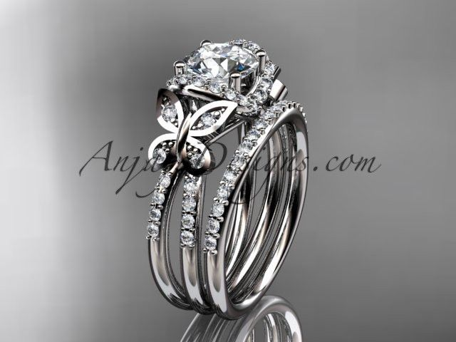 platinum diamond butterfly wedding ring engagement set ADLR141S