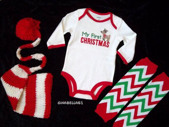 First Christmas outfit Santa Baby boy girl little man mister red white  chevron hat leg warmers leggings onesie newborn 3 6 9 m toddler - My First Christmas Outfit Baby Shower Pinterest Christmas