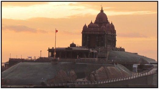 Vivekananda point at sunset: Kanyakumari, India's southernmost tip