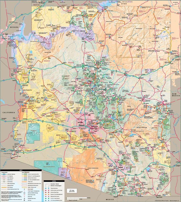 Arizona tourist map | Maps | Pinterest | Tourist map