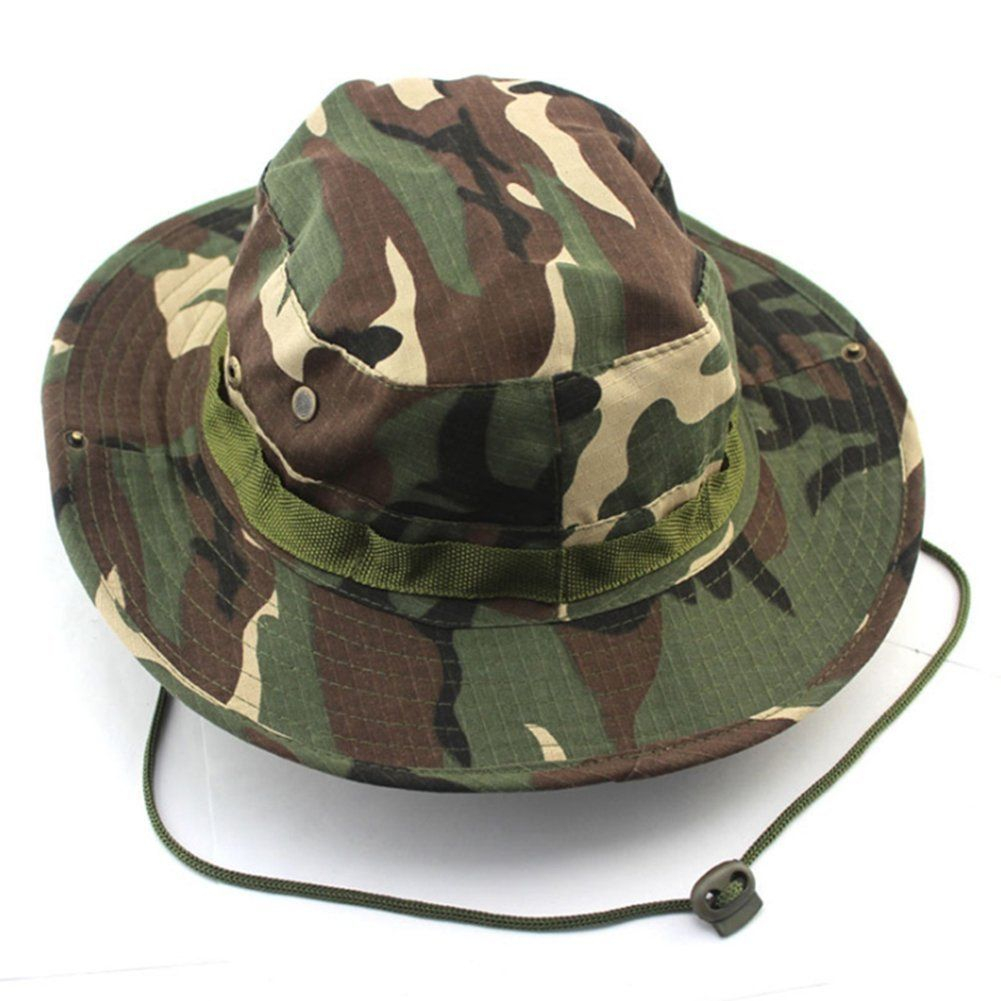 20686232e4efc happu-store New Woodland Camo Color Alternative Fishing Snap Brim Military  Bucket Sun Hat Cap -- Check out this great product.