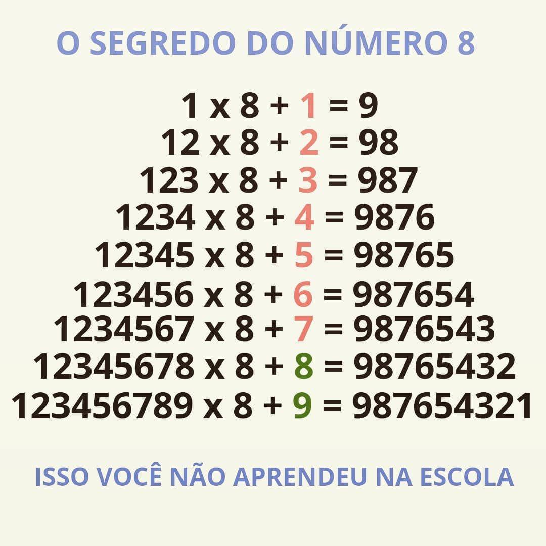 O Segredo Do Numero 8 Matematicas Numerosromanos