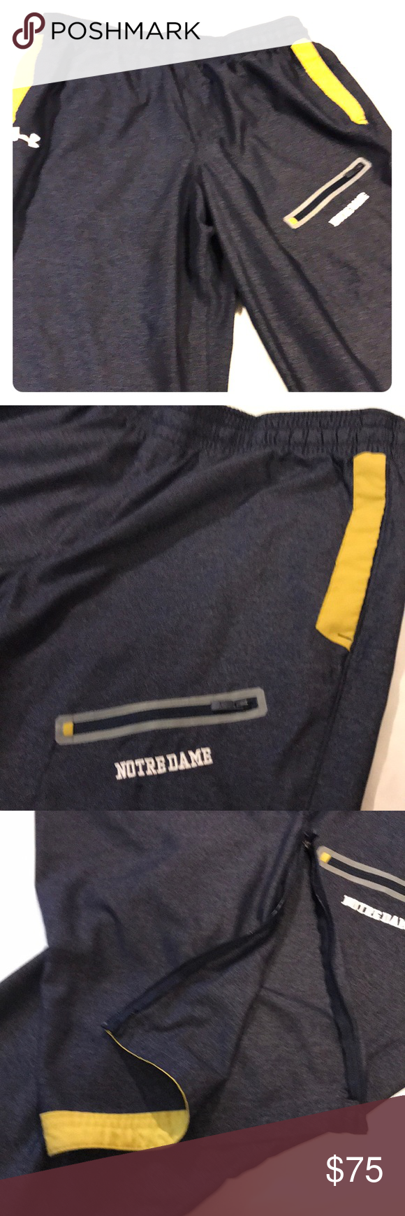 a6bddfddf3aa Under Armour Notre Dame Player Issued Travel Pants UA Loose Denim Look Team  Issued Pants Slash